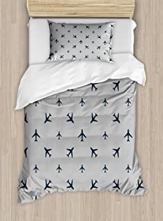 Ambesonne Airplane Duvet Cover Set, Diagonal Stripes with Blue Travel Silhouettes Vacation Aviation, Decorative 2 Piece Bedding Set with 1 Pillow Sham, Twin Size, Blue Grey