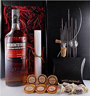 Geschenk Auchentoshan 12 Jahre Single Malt Whisky  Glaskugelportionierer  Edelschokolade  Fudge