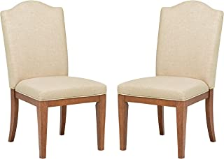 Stone & Beam Parson Armless Dining Room Chairs, 40 Inch Height, Set of 2, Beige