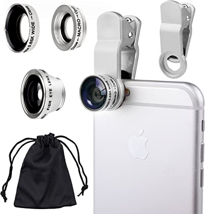 CamKix Universal 3 in 1 Cell Phone Camera Lens Kit for Smartphones including - Fish Eye Lens / 2 in 1 Macro Lens & Wide Angle Lens / Universal Clip / Carry Pouch / Microfiber Cleaning Cloth(silver)