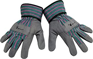 G & F 5009L JustForKids Synthetic Leather Kids Garden Gloves, Kids Work Gloves, Grey, 7-11 years old