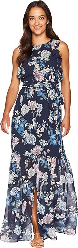 Printed Chiffon Maxi with Ruffle Bodice with Split Flounce