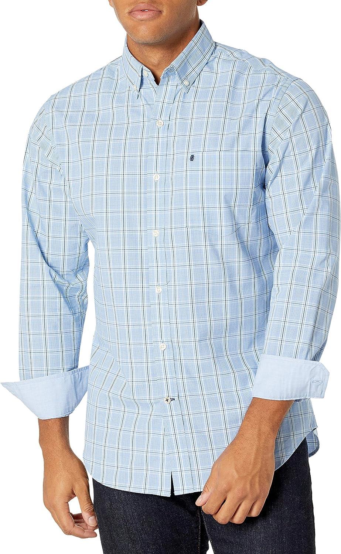 IZOD Men's Advantage Performance Plaid Long Sleeve Stretch Button Down Shirt