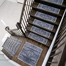 Benissimo Stair Treads Carpet, Landing Latex Non Slip Stair Rugs, Modern Printed Design, Vibrant and Soft Non-Skid Stair R...