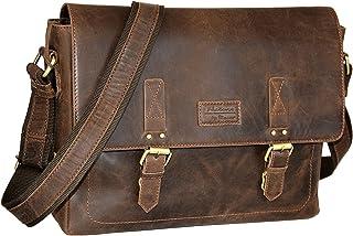 """Menzo """"Milano"""" 15 Zoll Laptoptasche aus echten Leder, Notebooktasche, Aktentasche für Damen und Herren Marrone"""
