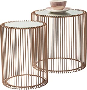 KARE Design Mesas de Centro Wire Cobre 2/Set