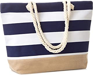Leisureland Canvas Tote Beach Bag, Water Resistant Shoulder Tote Bag (L20 xH15 xW6, Stripe Navy Blue)