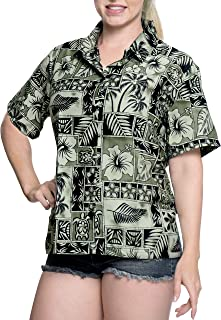 34c66be15 8 · LA LEELA Hawaiian Shirt Blouses Button Down Relaxed Fit Women Short  Sleeves Camp Black