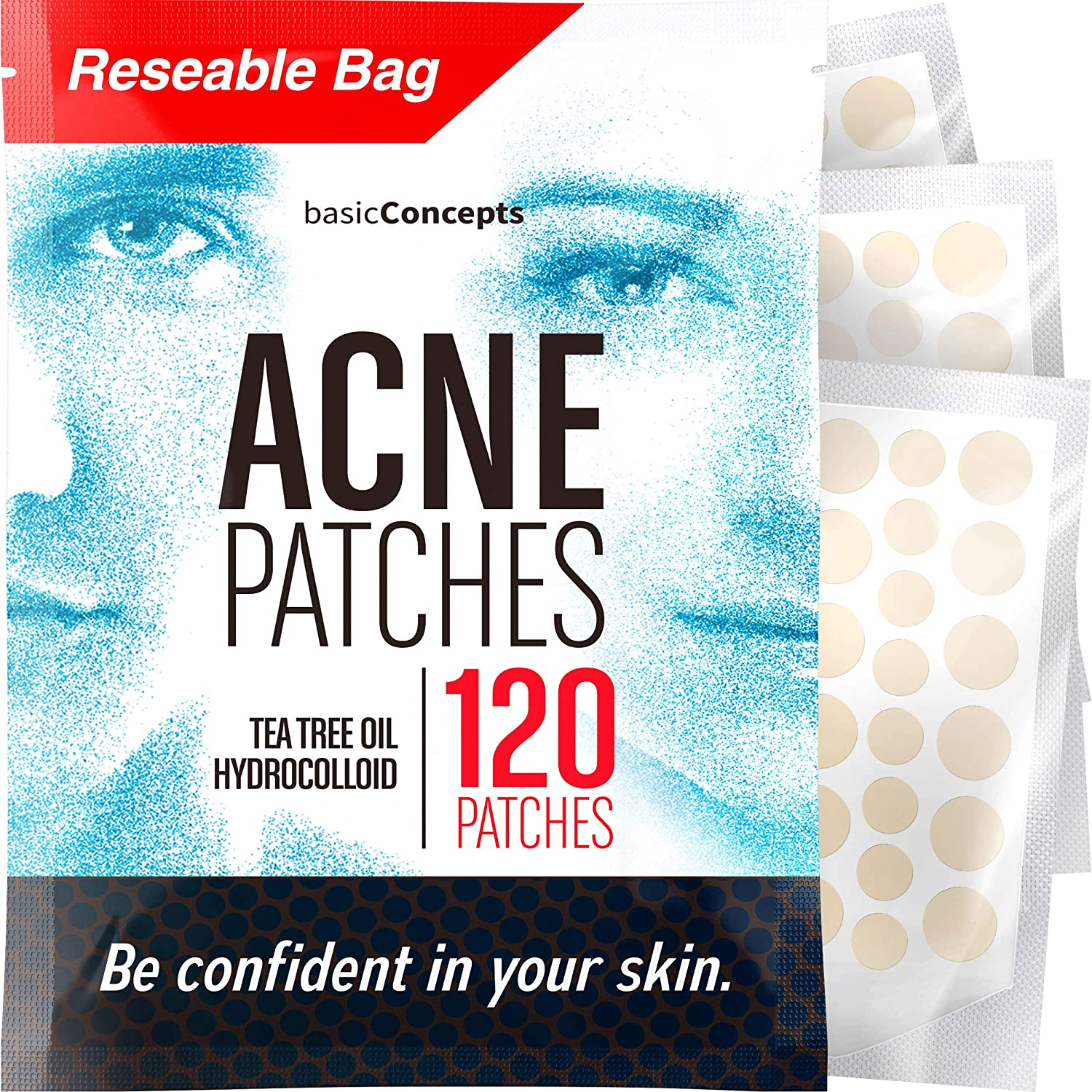 Acne Patches (120 Pack), Tea Tree Oil and Hydrocolloid Pimple Patches for Face, Zit Patch (3 Sizes), Blemish Patches, Acne Dots, Pimple Stickers, 100% All Natural Acne Patch and Pimple Patch