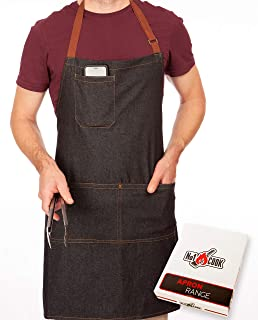 No1Cook Denim Apron with Pockets - Stay Organized When You're BBQ Grilling and Cooking - Stylish Denim Aprons for Men - Make an Awesome Gift - Fully Adjustable, Contemporary Design - Machine Washable