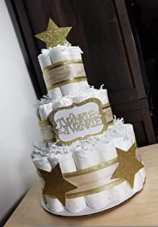Twinkle Twinkle Gold/Silver/Navy and White Neutral Diaper Cake - 3 Tier - Baby Shower Gift - Little Star