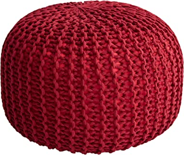 """Cheer Collection 18"""" Round Pouf Ottoman - Chunky Hand-Knit Decorative and Comfortable Foot Rest, Burgundy"""