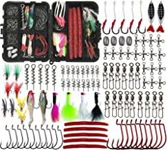 JSHANMEI Fishing Lures Bait Kit Including Crankbaits, Spinnerbaits, Plastic Worms, Jig Hooks, Topwater Lures, Spoons, Fishing Swivel Snap, Fishing Sinker Weights Tackle Box Set