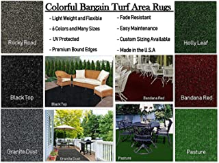 Custom Sized Colorful Indoor/Outdoor Bargain-Turf Area Rugs. Great for Gazebos, Decks, Patios, Balconies and Much More. Many Sizes and Colors