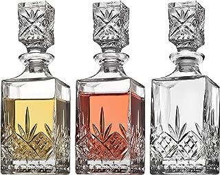 Godinger Mini Whiskey Decanter Barware Set - Dublin Crystal Collection for Liquor Whisky Vodka or Wine - 10oz, set of 3