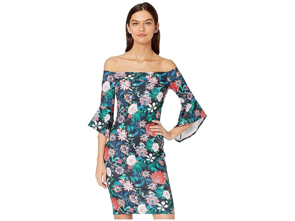Bebe Off the Shoulder Bell Sleeve Dress (Black/Multi) Women
