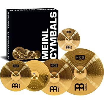 "Meinl Cymbal Set Box Pack with 14"" Hihats, 20"" Ride, 16"" Crash, Plus a FREE 10"" Splash – HCS Traditional Finish Brass – Made In Germany, 2-YEAR WARRANTY (HCS141620+10)"