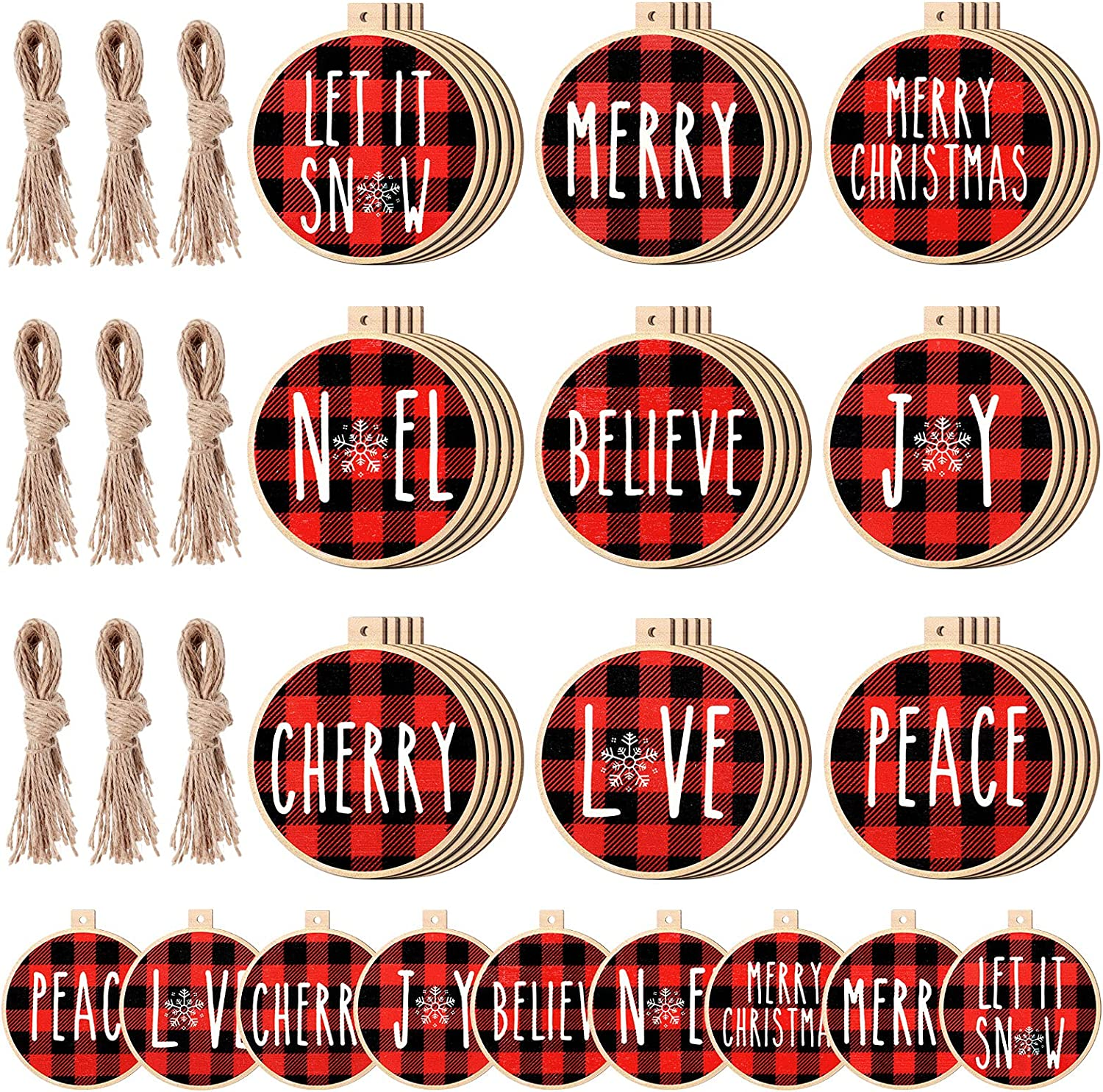36 Pieces Christmas Ornament Wooden Christmas Ornament Xmas Tree Hanging Tag Wooden Christmas Tree Decorations Rustic Hanging Decor for Holiday Xmas Party (Red-Black,Buffalo Plaid)