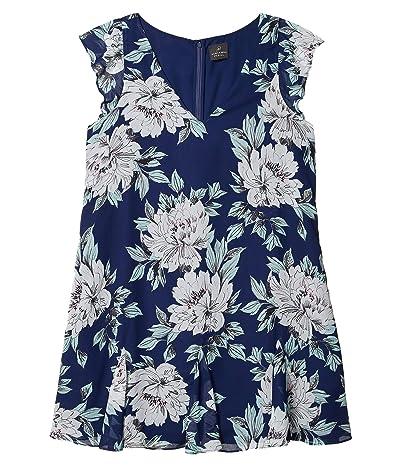 Adrianna Papell Floral Chiffon Goddet Shift Dress (Navy Multi) Women