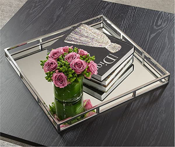 Le Raze Beautiful Mirrored Tray With Chrome Rails Elegant Square Vanity Mirror Tray With Side Bars Makes A Great Bling Gift 16 Inch