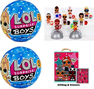 LOL Surprise! Boys Series 2 Doll (2 Pack) Bundle + Gift Bag + Stickers!