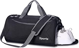 Packable Sports Gym Bag with Wet Pocket & Shoes Compartment Travel Duffel Bag for Men and Women (Black)