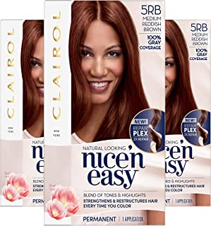 Clairol Nice'n Easy Permanent Hair Color, 5RB Medium Reddish Brown, Pack of 3