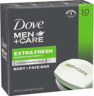 Dove Men+Care Body and Face Bar To Clean Skin and Provide Hydration Extra Fresh and More Moisturizing, (10 Count of 4 oz Bars Each) 40 oz