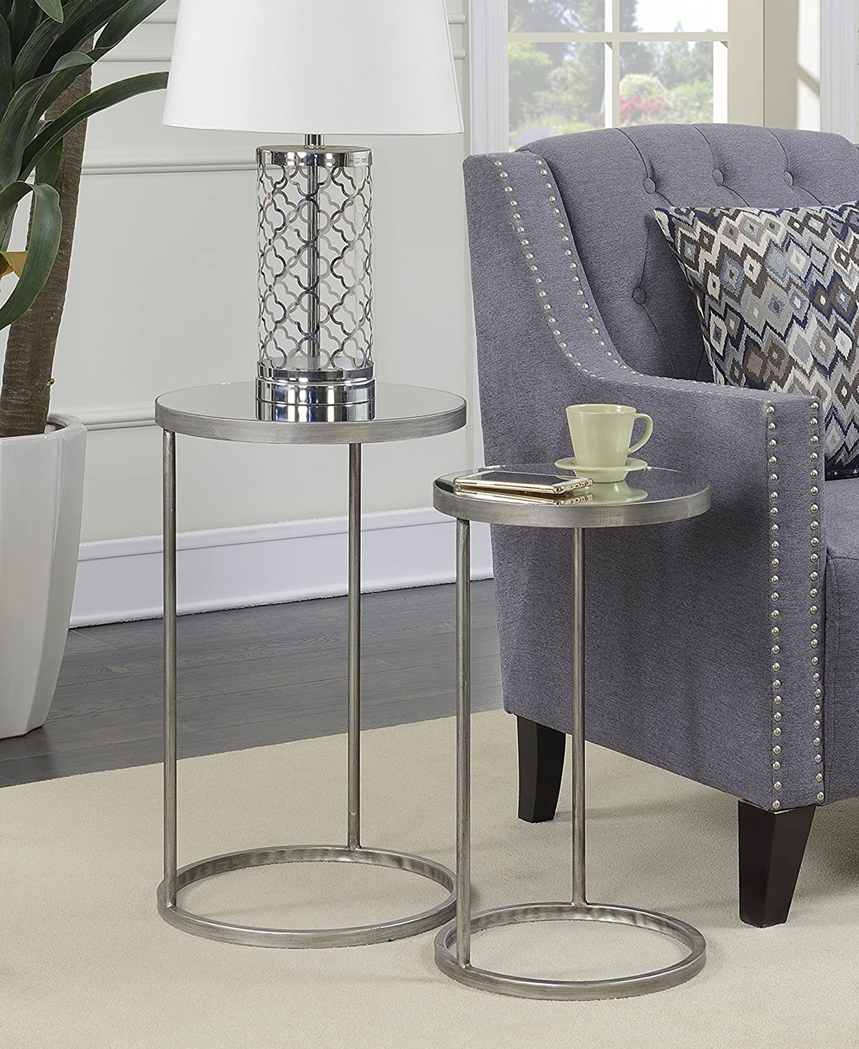 Convenience Concepts 227435S gold Coast Julia Round Nesting Mirror End Tables, Silver
