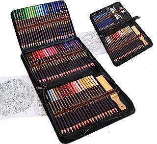 Kit Dessin Complet 96 pièces - Debutant ou Professionnel, Trousse de 72 crayon de couleurs, 12 crayon papier et Accessoire...