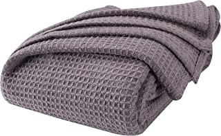 Farmhouse Throw Blanket in Waffle Weave Full Queen-90x90 Charcoal, Perfect for Layering to Any Bed, All Season Cotton Thermal Blanket,Throw Blanket,Summer Blankets, Lightweight Blankets Queen Size