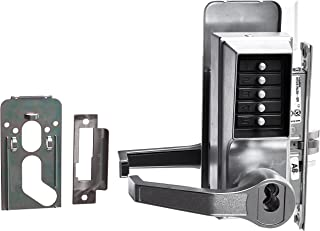Kaba Simplex 8100 Series Metal Left Handed Mechanical Pushbutton Mortise Lock with Lever, Combination Entry, Key Override, Passage, Lockout, R/C Schlage, Core Not Included, Satin Chrome Finish