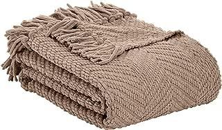 AmazonBasics Chunky Knitted Fringed Throw Blanket - 50 x 60 Inches, Camel