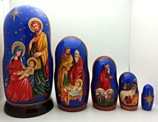 Nativity Nesting Doll Hand Made in Russia 5 Piece 4