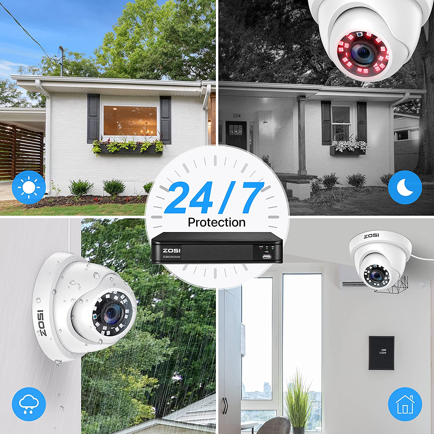 ZOSI H.265+ 5MP 2K Security Camera System for Home, 4CH CCTV DVR with Hard Drive 1TB for 24/7 Recording, 4X 5MP (1920P) Surveillance Dome Camera Indoor Outdoor,80ft Night Vision, Motion Alerts