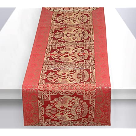 Stylo Culture Table Basse Indienne Runner en Or Rouge éléphant & Floral Brocade Jacquard Rectangle Home Decor Ethnique Nappe Extra Longue | 60 x 16 Pouces (152 x 40 cm)