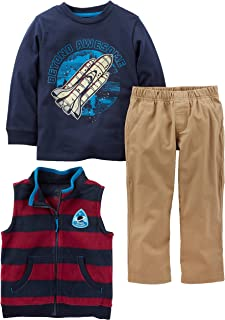 Simple Joys by Carter's Baby and Toddler Boys' 3-Piece Fleece Vest, Long-Sleeve Shirt, and Woven Pant Playwear Set