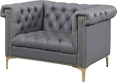 Iconic Home Winston Modern Tufted Gold Nail Head Trim Grey PU Leather Club Chair with Gold Tone Metal Y-Legs