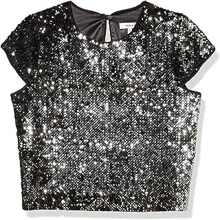 MILLY womens Sequin Velvet Crewneck Short Sleeve Baby Tee Dress Shirt