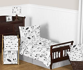 Grey, Black and White Fox and Arrow Boys or Girls 5 Piece Toddler Bedding Comforter Sheet Set