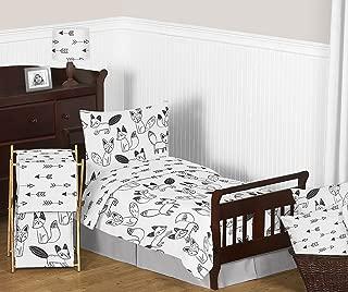 Sweet Jojo Designs 5-Piece Grey, Black and White Fox and Arrow Boys or Girls Toddler Bedding Comforter Sheet Set