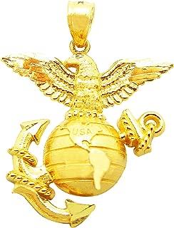 Men's 10K Yellow Gold US Marine Corps Pendant Charm Military Pendant
