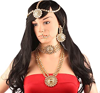 Touchstone Indien bollywood diamante faux rubis meenakari bijoux de mari/ée collier set pour femme Rouge
