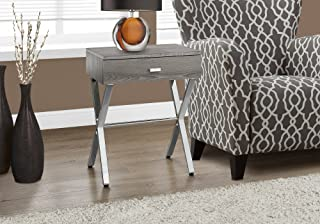 Monarch Specialties I I 3263 Night Stand Accent Table, 22.00 x 12.00 x 18.00, Dark Taupe/Chrome Metal