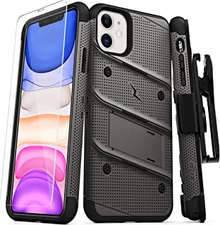 ZIZO Bolt Series iPhone 11 Case - Heavy-Duty Military-Grade Drop Protection w/Kickstand Included Belt Clip Holster Tempered Glass Lanyard - Gun Metal Gray