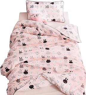 "J-pinno Boys Girls Pink Rabbit Muslin Duvet Cover, 100% Cotton, Invisible Zipper, for Kids Crib/Twin Bedding Decoration Gift (Crib 47"" X 59"", Pink)"
