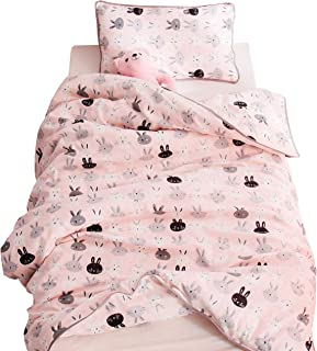 J-pinno Boys Girls Pink Bunny Muslin Duvet Covers, 100% Cotton, Invisible Zipper, for Kids Crib/Twin Bedding Decoration Gift (Twin 59