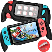 MEQI Gaming Grip Case for Nintendo Switch, Comfortable & Ergonomic Switch Charging Grip with Game Storage Case, Fast Charge Compatible 5V 2A AC Adapter with Type-C Cable for Switch Joy-con Controller