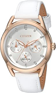 Citizen Women's 'Drive' Quartz Stainless Steel and Leather Casual Watch, Color:White (Model: FD2053-04A)