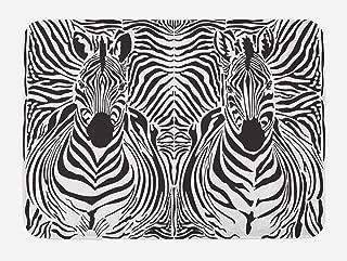 Ambesonne Zebra Print Bath Mat, Illustration Pattern Zebras Skins Background Blended Over Zebra Body Heads, Plush Bathroom Decor Mat with Non Slip Backing, 29.5